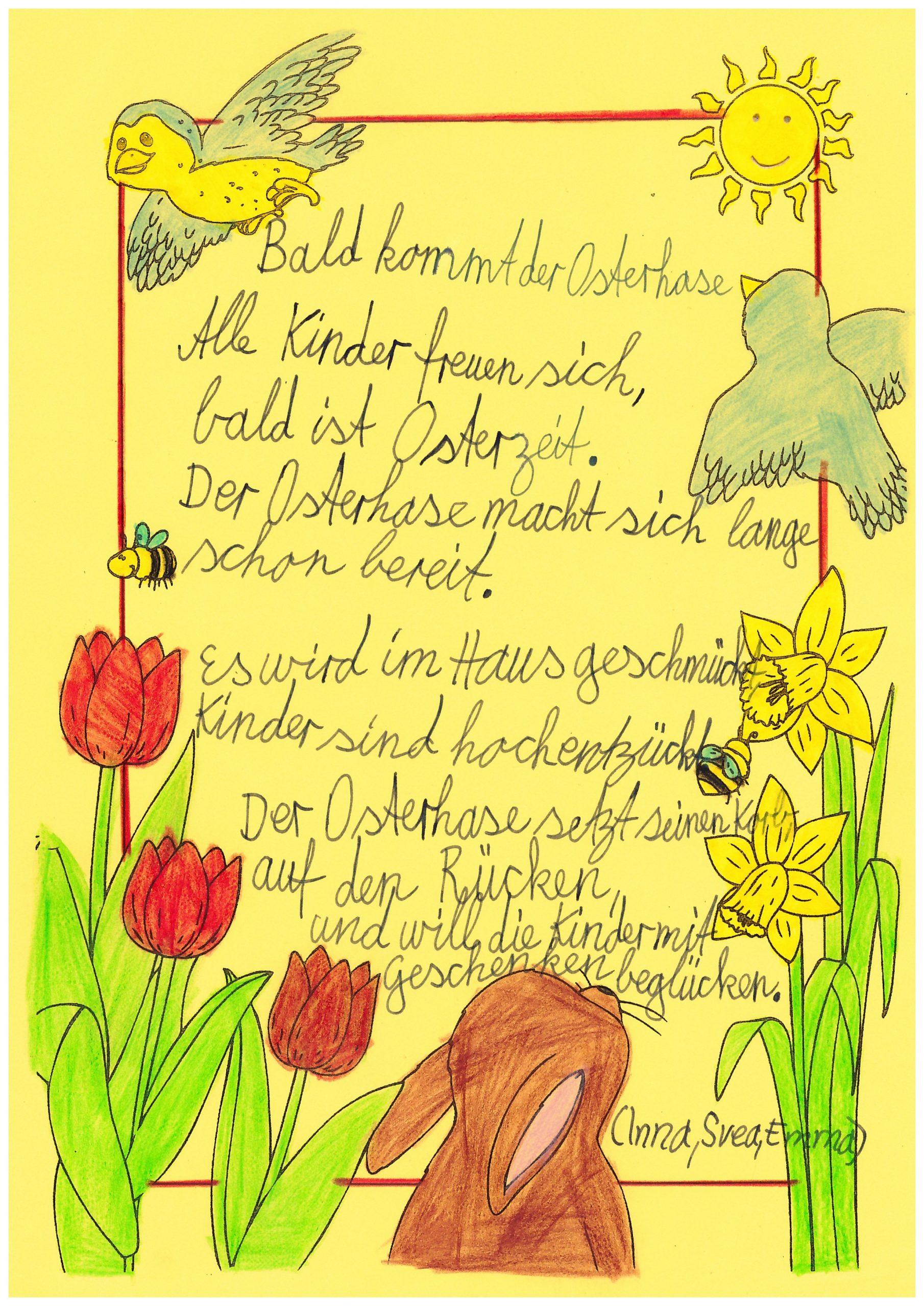Ostergedicht von Inna, Svea, Emma (Klasse 4)